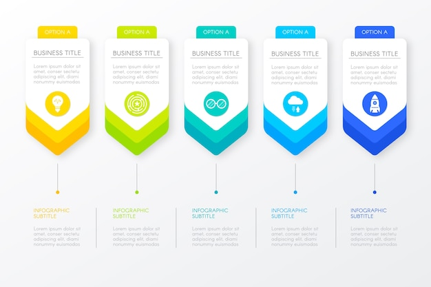 Progresso del modello di passaggi per infografica