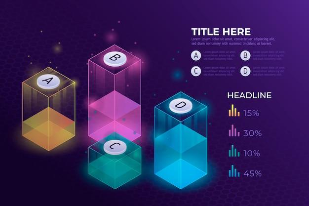 Progresso isometrico infografica