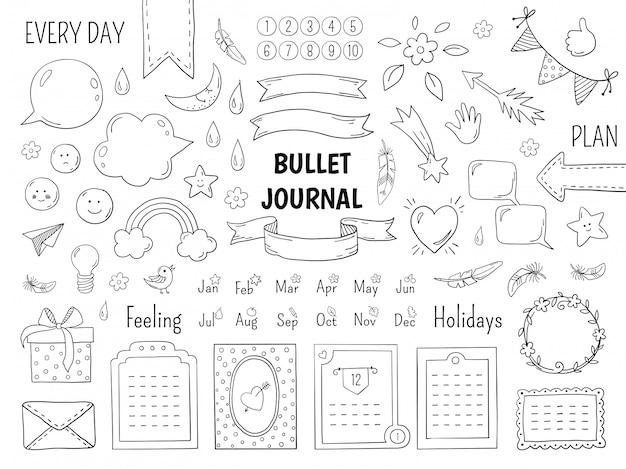Proiettile doodle notebook. struttura del diario disegnata a mano, bordi ed elementi dell'elenco lineare del giornale. schizzo doodle elementi planner planner note scarabocchi