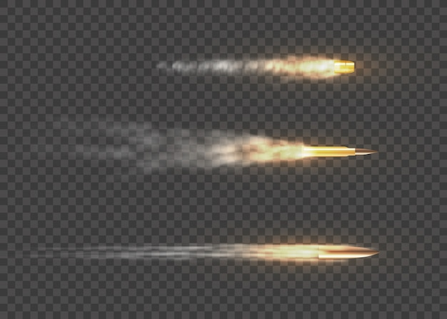 Proiettili volanti realistici in movimento. tracce di fumo isolate su sfondo trasparente. percorsi per sparare con la pistola. spari, proiettili in movimento, tracce di fumo militari.
