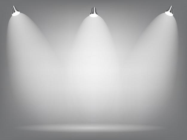 Proiettori luminosi realistici lampada di illuminazione con faretti effetti di luce con sfondo di trasparenza. illustrazione vettoriale