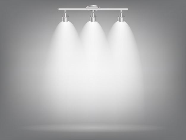 Proiettori luminosi realistici lampada di illuminazione con faretti effetti di luce con trasparenza.