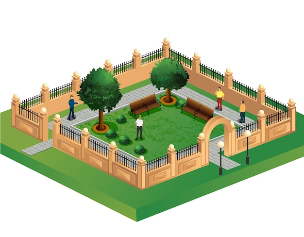 Proiezione isometrica del vettore del giardino urbano