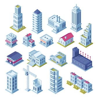 Proiezione isometrica di edifici 3d città per mappa.