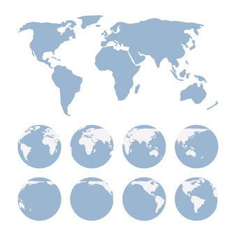 Proiezione mappa del mondo che mostra la superficie della terra e dei globi