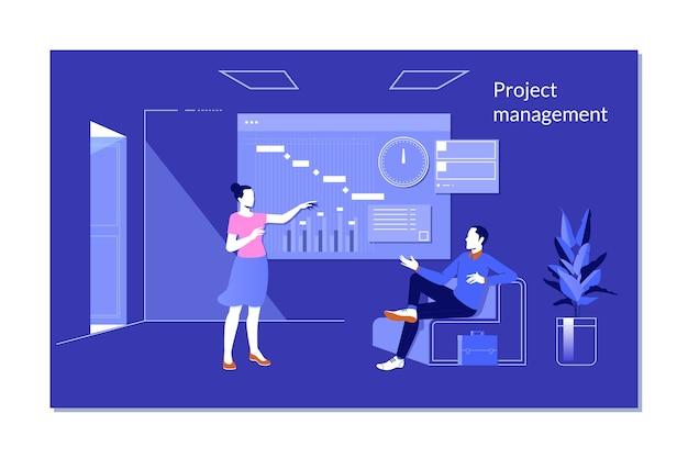 Project manager che esamina la schermata ar con la pianificazione del diagramma di gantt o la pianificazione delle attività di visualizzazione