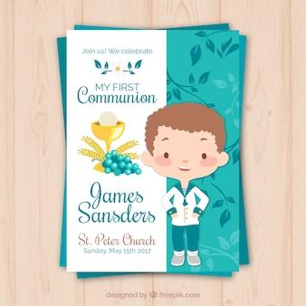 Promemoria con il bambino di comunione