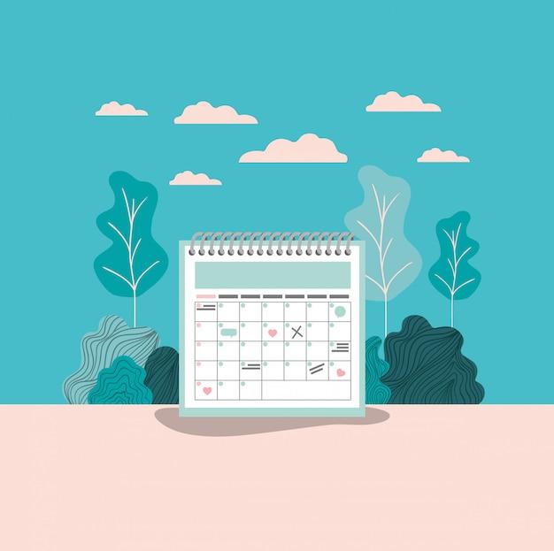 Promemoria del calendario con paesaggio forestale