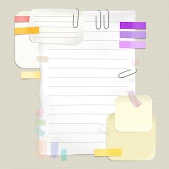Promemoria e note messaggio illustrazione di adesivi memo e pagine di carta per la lista delle cose da fare