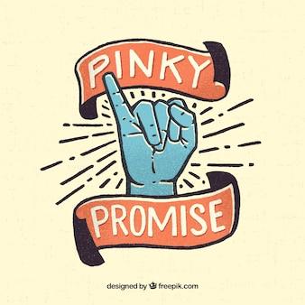Promessa pinky stile disegnato a mano