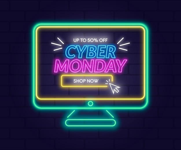 Promo cyber lunedì di tecnologia al neon