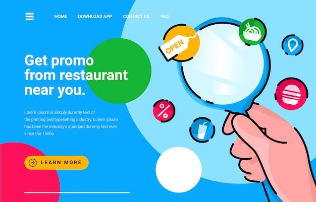 Promo del ristorante di ricerca della lente d'ingrandimento