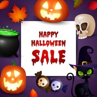 Promo di vendita di halloween felice con simboli di festa