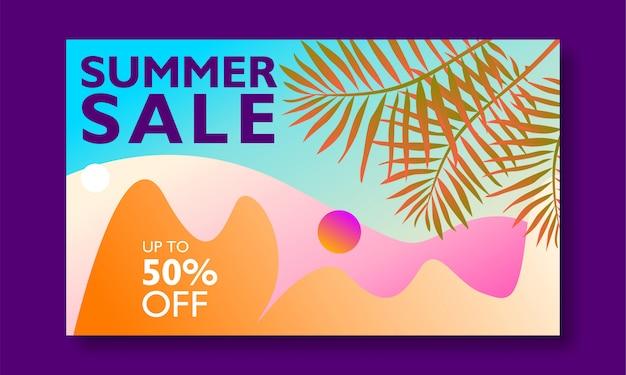 Promozione banner vendita estate con foglie di palma e paesaggio
