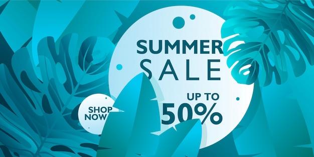 Promozione banner vendita estate con foglie tropicali su colore blu