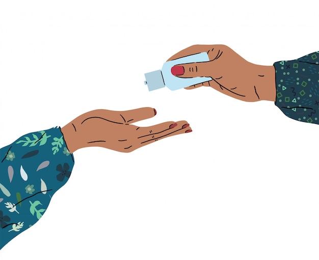Promozione dell'igiene. lavarsi le mani con sapone per prevenire l'illustrazione di virus e batteri. io