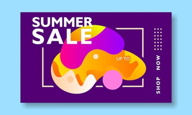 Promozione dell'insegna di vendita di estate con forma astratta dell'illustrazione variopinta