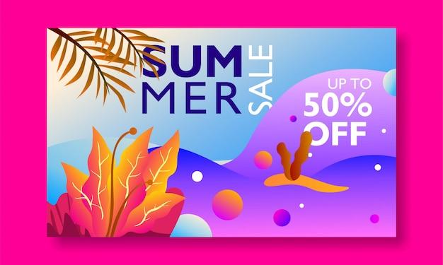 Promozione dell'insegna di vendita di estate con il paesaggio tropicale dell'illustrazione colourful.