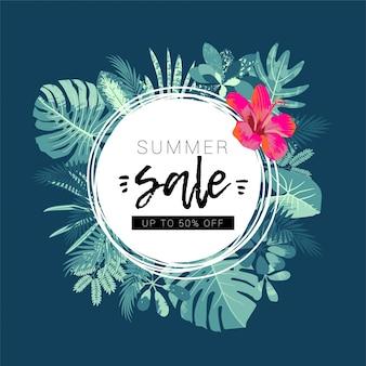 Promozione della vendita estiva. design giungla tropicale con una cornice rotonda