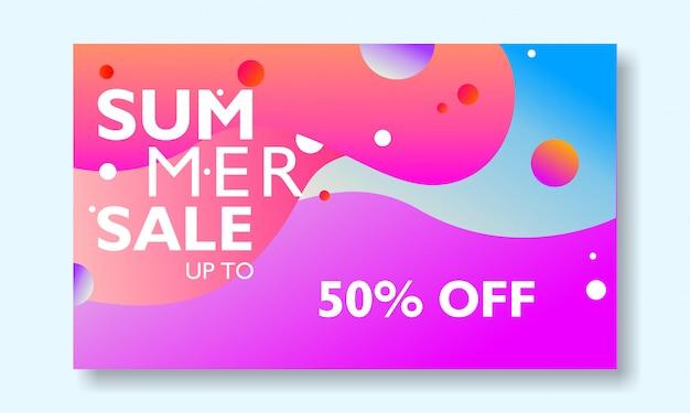 Promozione di banner vendita estiva con paesaggio tropicale colorato.