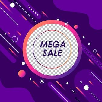 Promozione mega astratta dell'insegna di vendita con il modello editabile per l'offerta speciale