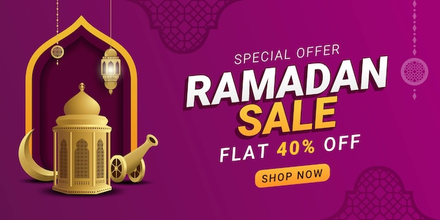 Promozione modello banner ramadan vendita sconto