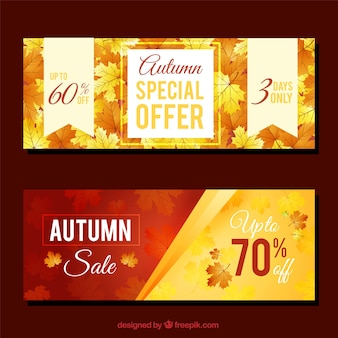 Promozioni banner per autunno, stile realistico