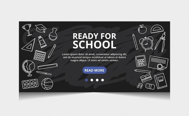 Pronto per la scuola. pagina di destinazione vettoriale