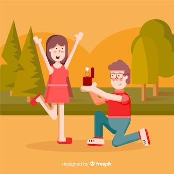 Proposta di matrimonio incantevole con stile cartoon