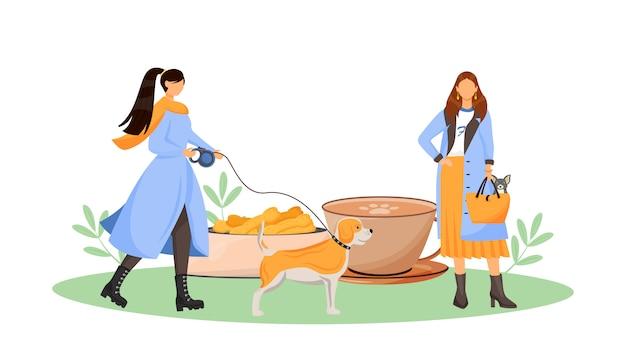Proprietario del cane femminile nell'illustrazione piana di concetto del caffè