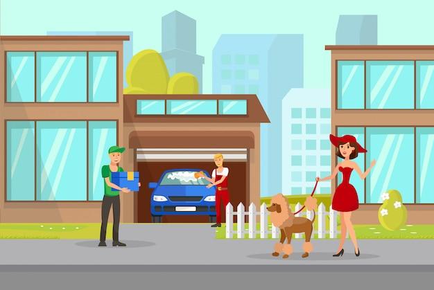 Proprietario dell'animale domestico e illustrazione di vettore del ragazzo di consegna