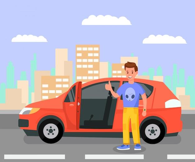 Proprietario di auto soddisfatto, entusiasta illustrazione a colori