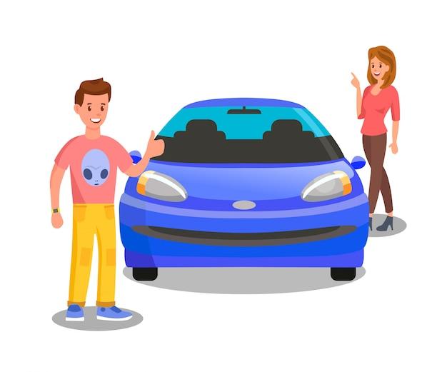 Proprietario soddisfatto dell'automobile, illustrazione piana di entusiasta