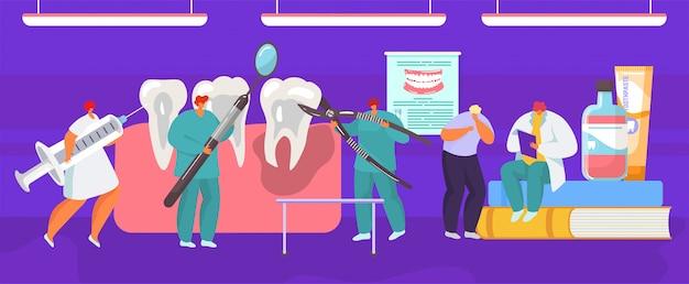 Proseure medica dentale dell'estrazione del dente dal chirurgo del dentista, illustrazione del fumetto di anatomia della bocca.
