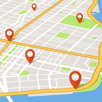Prospettiva 3d mappa della città con puntatori pin. concetto di vettore di navigazione gps abstarct