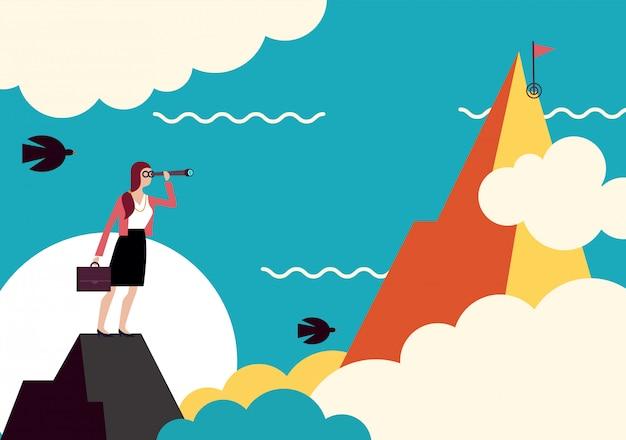 Prospettiva aziendale. la donna di affari esamina l'obiettivo, il concetto di obiettivo aziendale.