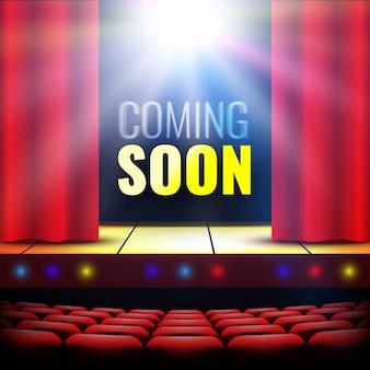 Prossimamente banner. palcoscenico teatrale con tenda, proiettore e luci. podio. sala concerti. poster per lo spettacolo. illustrazione.