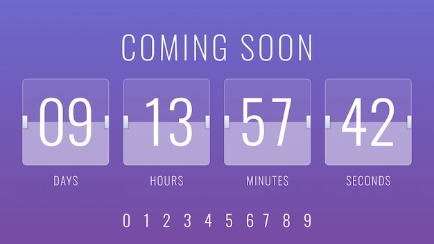Prossimamente illustrazione con flip countdown clock counter timer