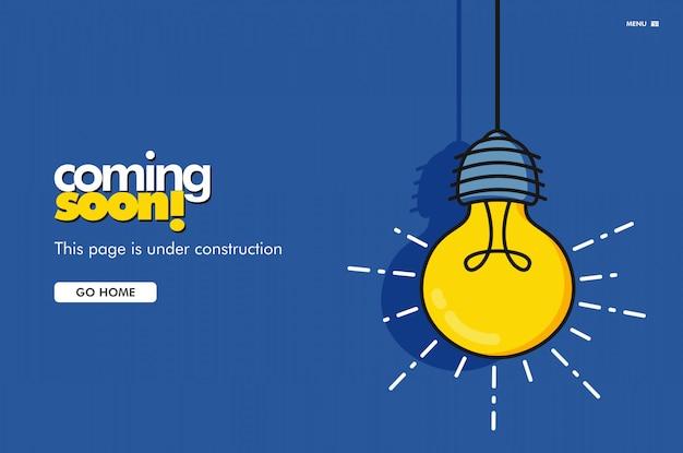 Prossimamente la pagina di destinazione. illustrazione vettoriale di lampadina