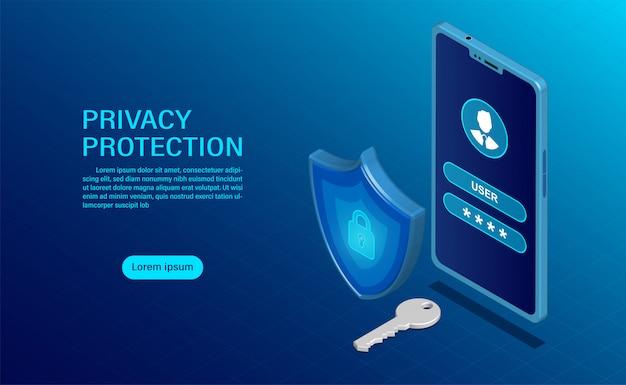 Proteggere i dati e la riservatezza sui dispositivi mobili. la protezione della privacy e la sicurezza sono confidenziali.