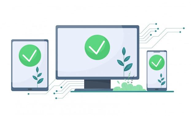Proteggi il tuo laptop e gadget da virus e hack. illustrazione in stile cartone animato piatto.