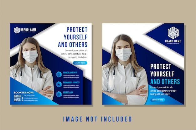Proteggi te stesso e gli altri come banner per i social media dei titoli di testo per l'industria medica. sfondo bianco combinato con esagono blu sfumato e triangolo. spazio umano per la foto del medico o del lavoro sanitario