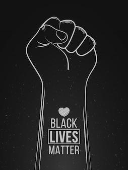 Protesta black lives matter. stop alla violenza contro i neri. simbolo del pugno con il cuore. illustrazione vettoriale di tiraggio della mano