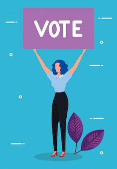 Protesta della donna e del cartello di affari con l'iscrizione di voto