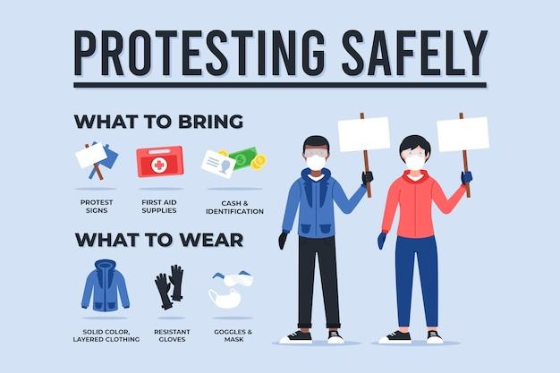 Protesta infografica in modo sicuro
