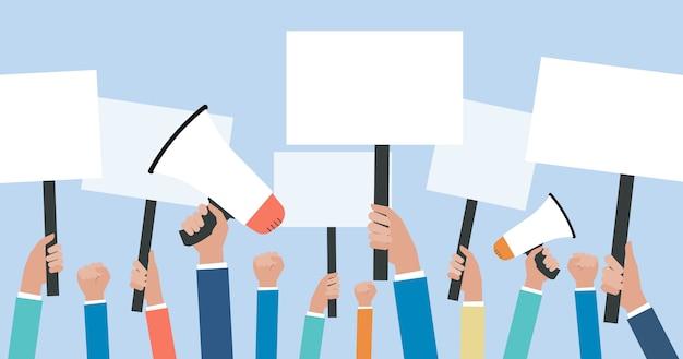 Protesta politica piatta e voto politico con il raduno di persone del gruppo che solleva un concetto di consiglio