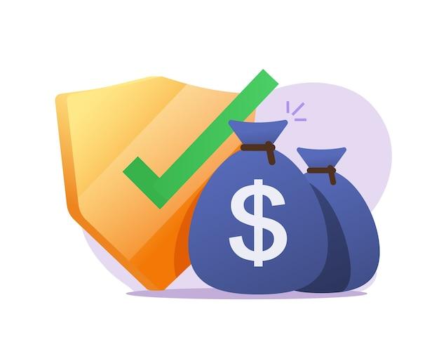 Protezione assicurativa del denaro o garanzie finanziarie, investimento sicuro in contanti o controllo della sicurezza del risparmio