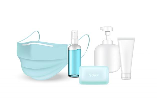 Protezione chirurgica del virus e della maschera con la bottiglia e la metropolitana della pompa del sapone isolate su fondo bianco. sicurezza respiratoria, assistenza sanitaria e concetto medico.