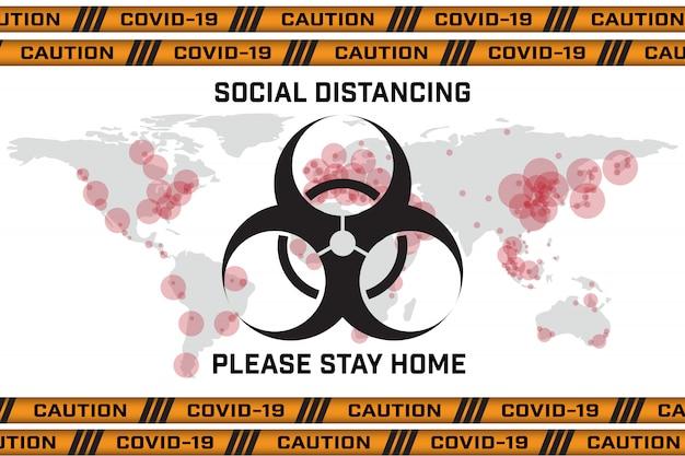 Protezione da pandemia globale e covid-19 di coronavirus globale, disegno vettoriale