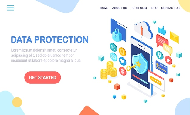 Protezione dati. sicurezza internet, accesso alla privacy con password. cellulare isometrico con chiave, scudo, lucchetto, cartella, nuvola, documenti, carta di credito, denaro, messaggio.